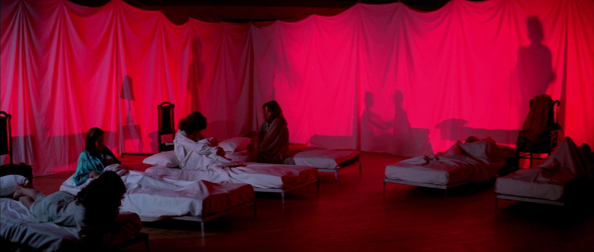 Le allieve di Suspiria riunite in una sala-dormitorio di fortuna
