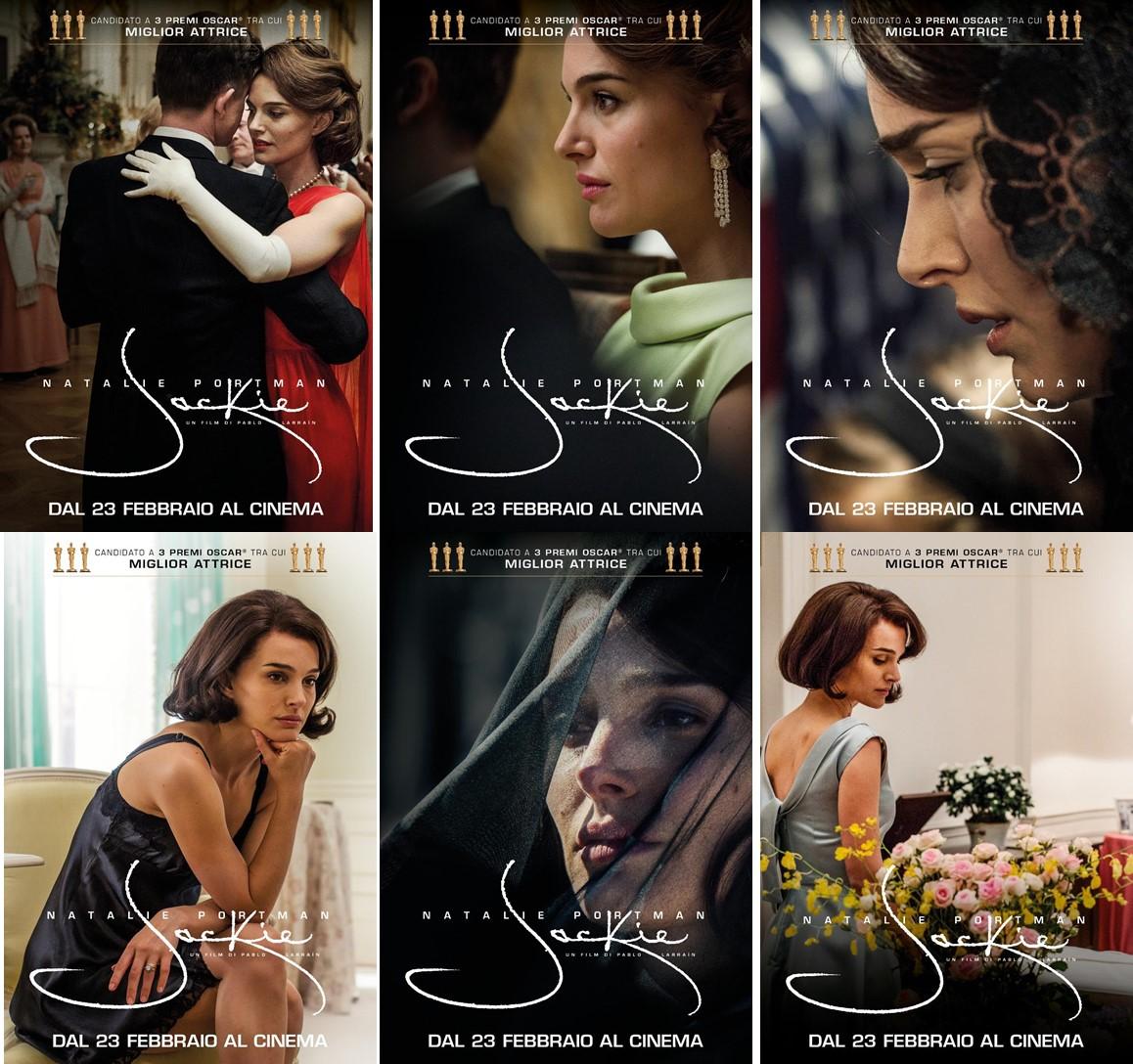 Jackie: Natalie Portman in sei character poster del film di cui è assoluta protagonista