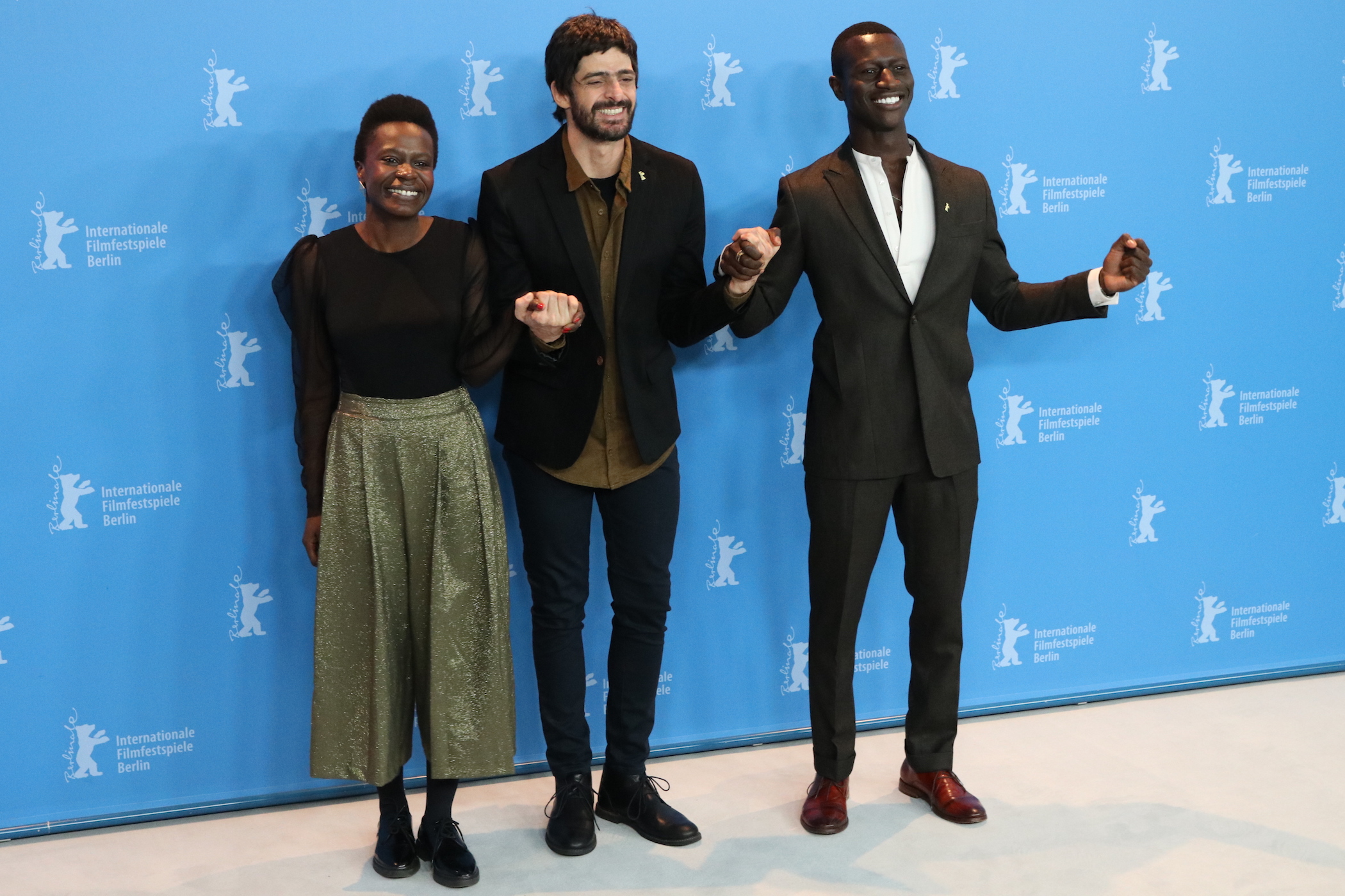 Berlino 2017: Julio Machado, Isabél Zuaa e Welket Bungué al photocall di Joaquim