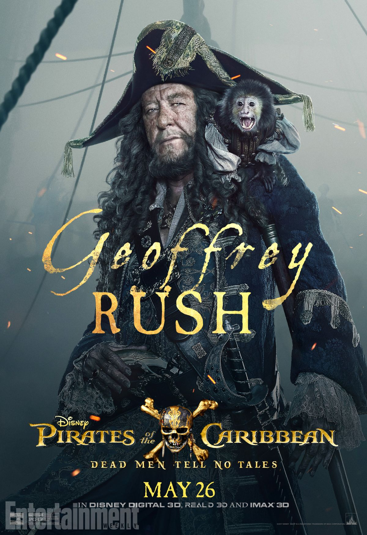 Pirati dei Caraibi: La vendetta di Salazar, il character poster di Geoffrey Rush