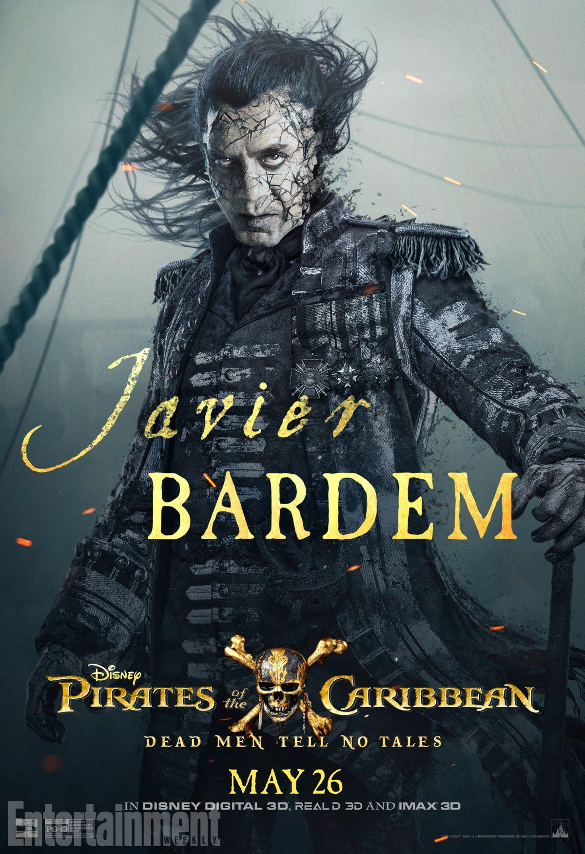 Pirati dei Caraibi: La vendetta di Salazar, il character poster di Javier Bardem