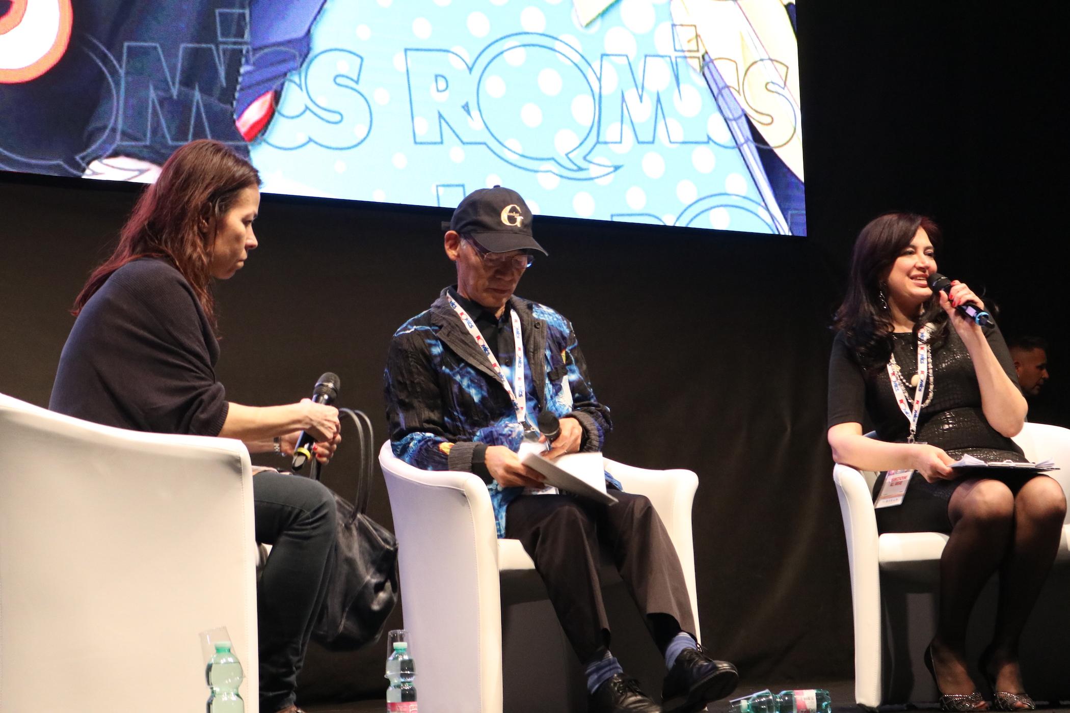Romics 2017: uno scatto di Yoshiyuki Tomino sul palco