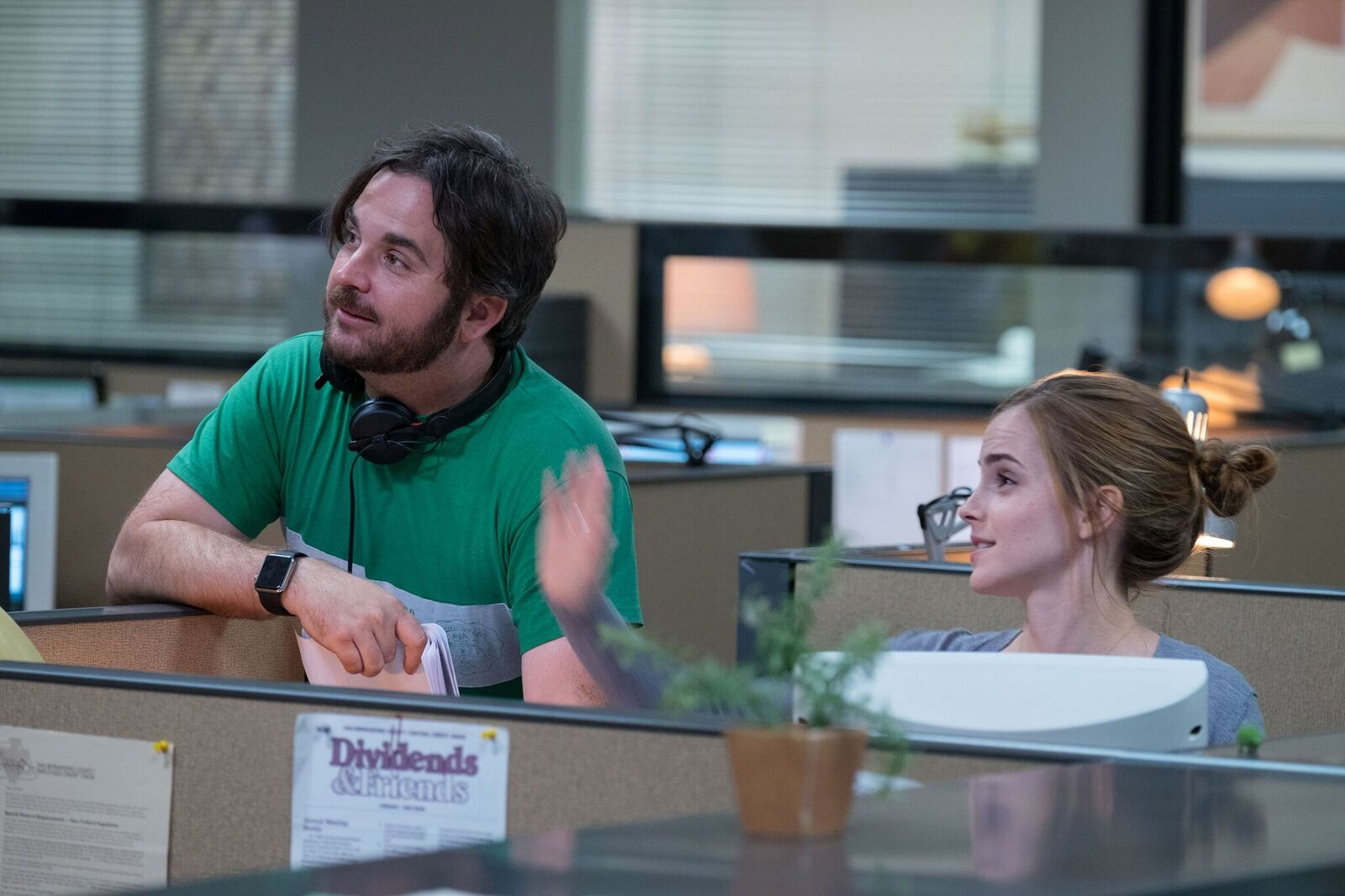 Emma Watson sul set di The Circle
