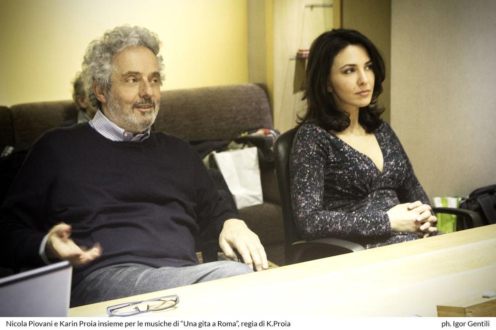 Una gita a Roma: la regista Karin Proia e Nicola Piovani sul set del film