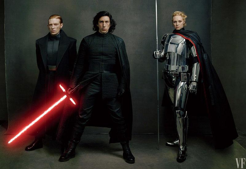 Star Wars: Gli ultimi Jedi - Gwendoline Christie, Adam Driver e Domhnaal Gleeson in una foto di Vanity Fair