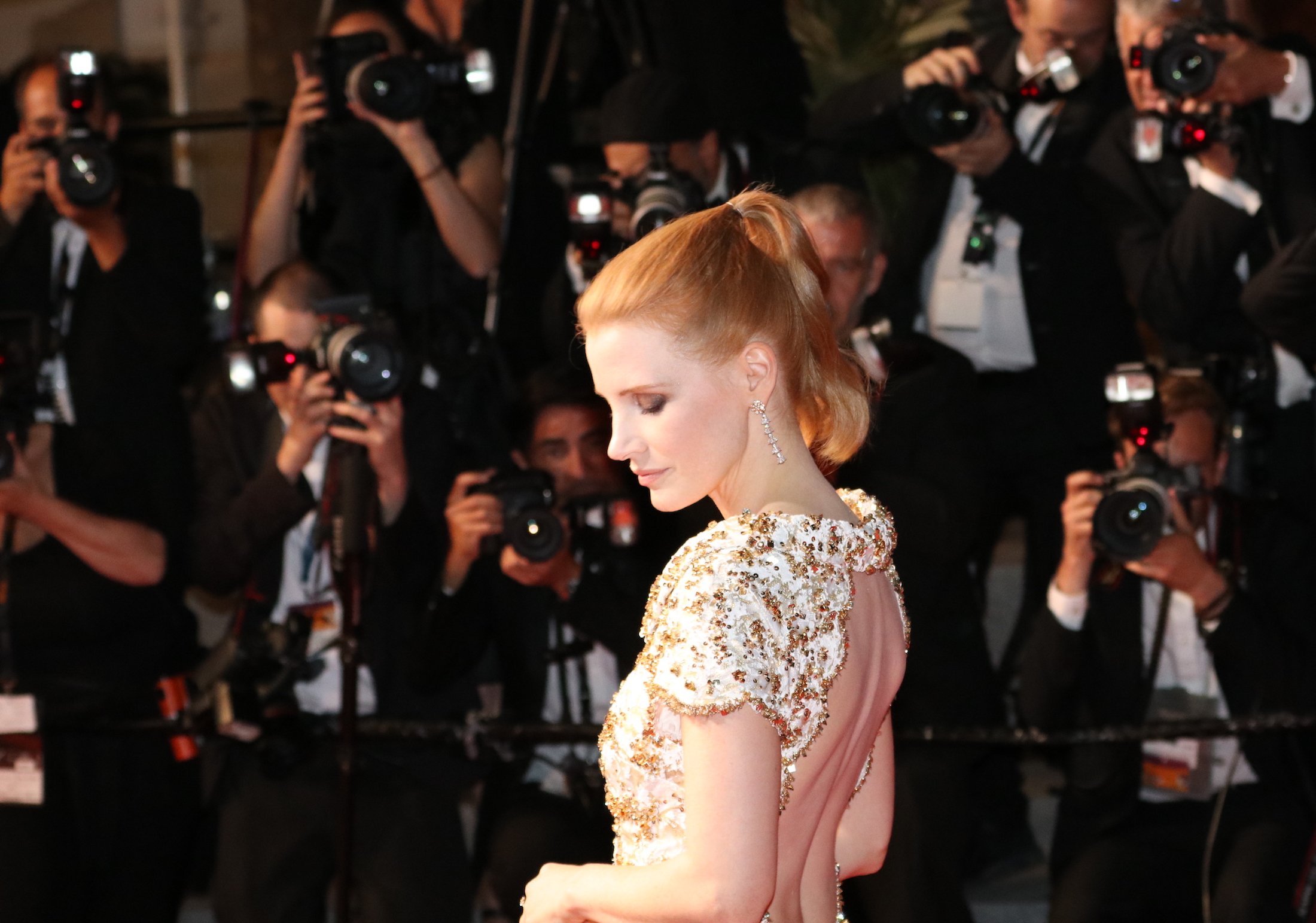 Cannes 2017: uno scatto di Jessica Chastain sul red carpet di In the Fade