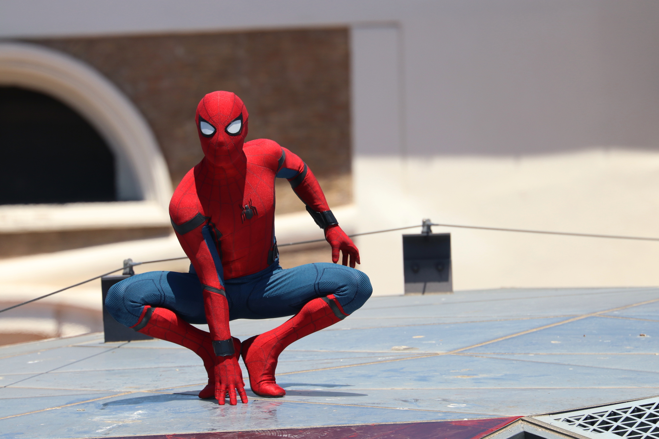 Spider-Man: Homecoming: stuntman in posa al photocall