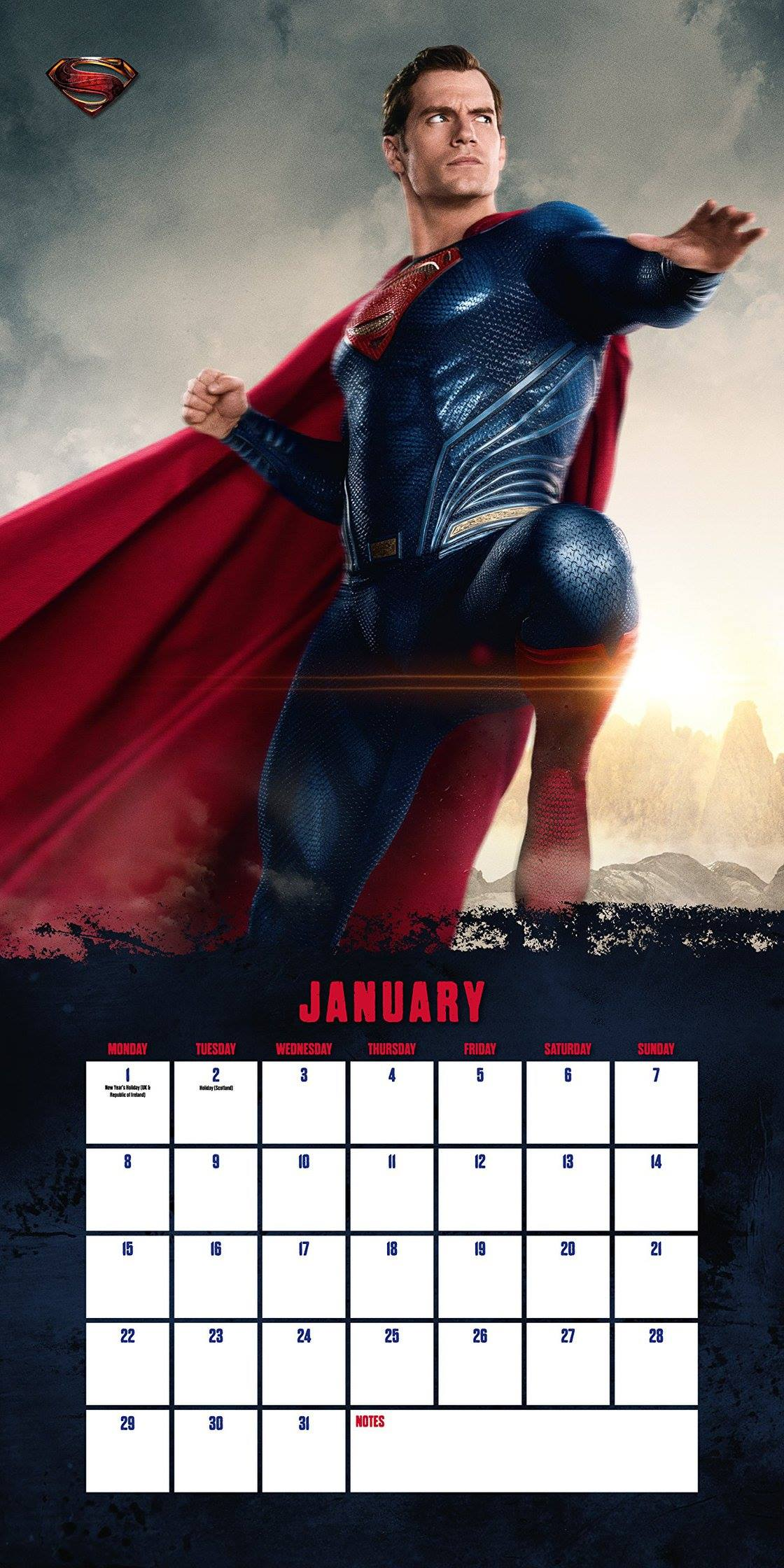 Justice League: una foto di Superman nel calendario del film