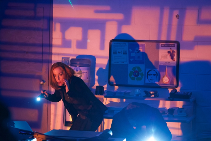 X-Files:  Gillian Anderson in una scena dell'episodio Rm9sbG93ZXJz