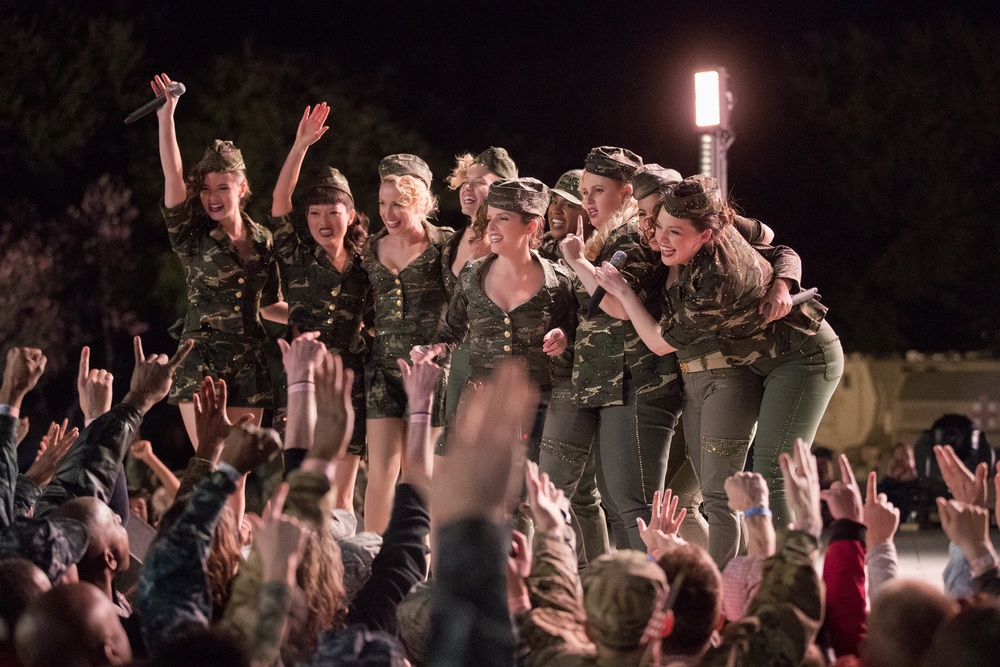 Pitch Perfect 3: Hailee Steinfeld, Anna Kendrick, Rebel Wilson, Brittany Snow, Anna Camp e Chrissie Fit in una scena del film