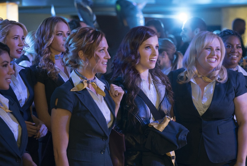 Pitch Perfect 3: Anna Kendrick, Rebel Wilson, Brittany Snow, Anna Camp e Chrissie Fit in una scena del film