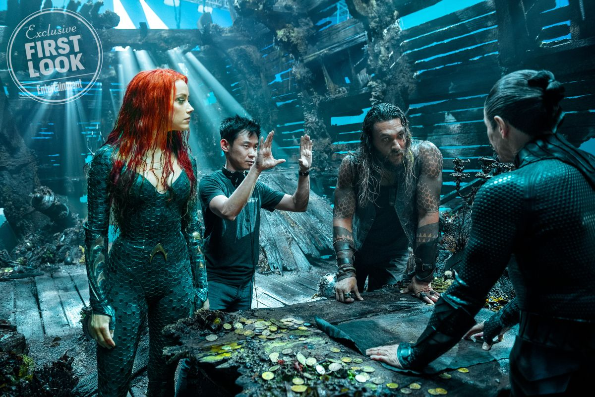 Aquaman: Amber Heard, James Wan e Jason Momoa sul set del film