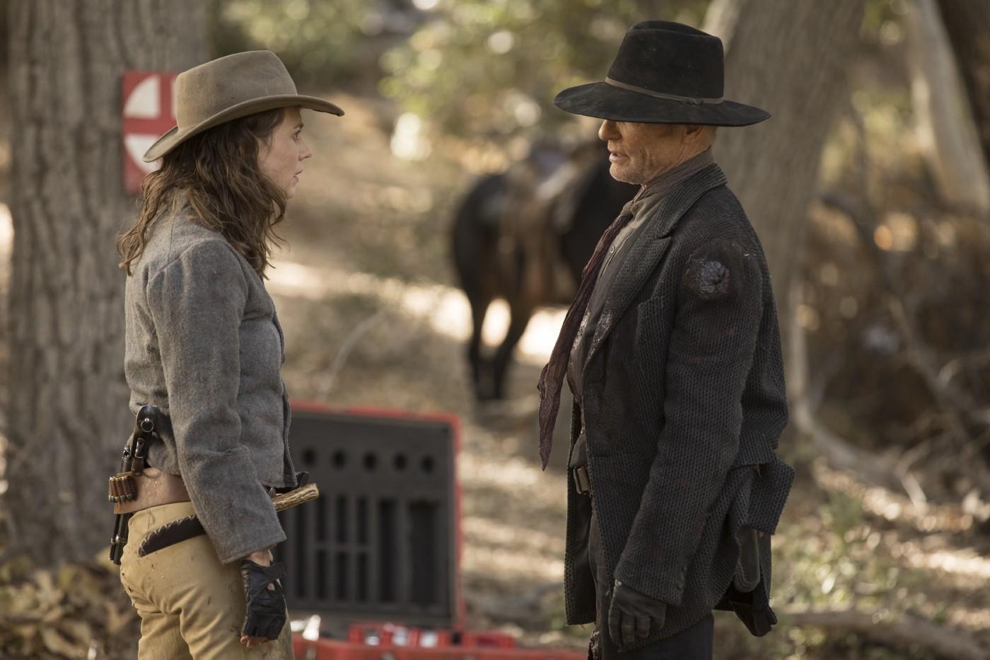 Westworld: Katja Herbers insiema a Ed Harris in una scena dell'episodio Vanishing Point