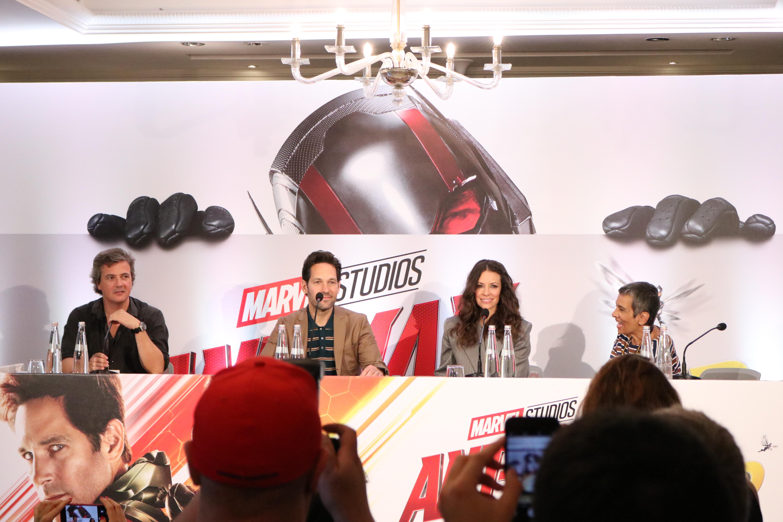 Ant-MAn and the Wasp: uno scatto di Evangeline Lilly e Paul Rudd durante la conferenza