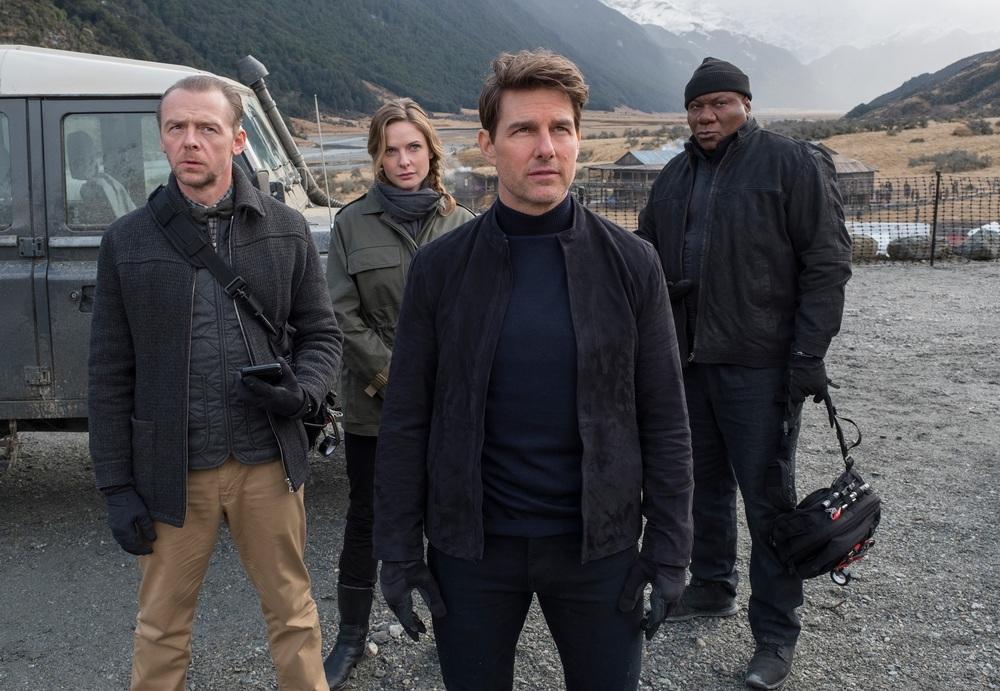 Mission: Impossible - Fallout: Tom Cruise, Simon Pegg, Rebecca Ferguson e Ving Rhames in una scena del film