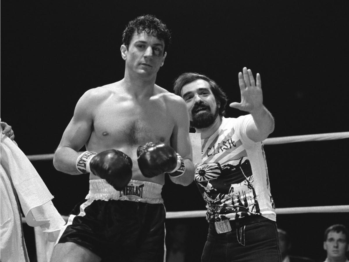 Robert De Niro e Martin Scorsese sul set del film Toro Scatenato