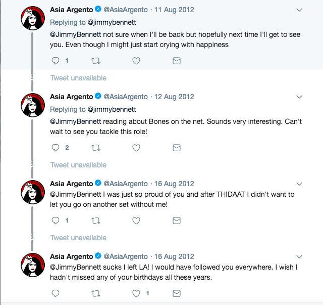 Asia Argento scambia tweet con il giovane collega Jimmy Bennett