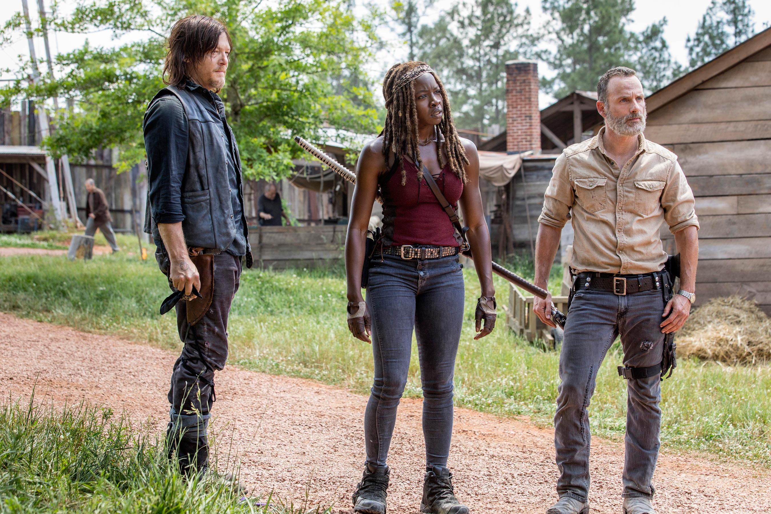 The Walking Dead: Andrew Lincoln, Normal Reedus e Danai Gurira in una scena