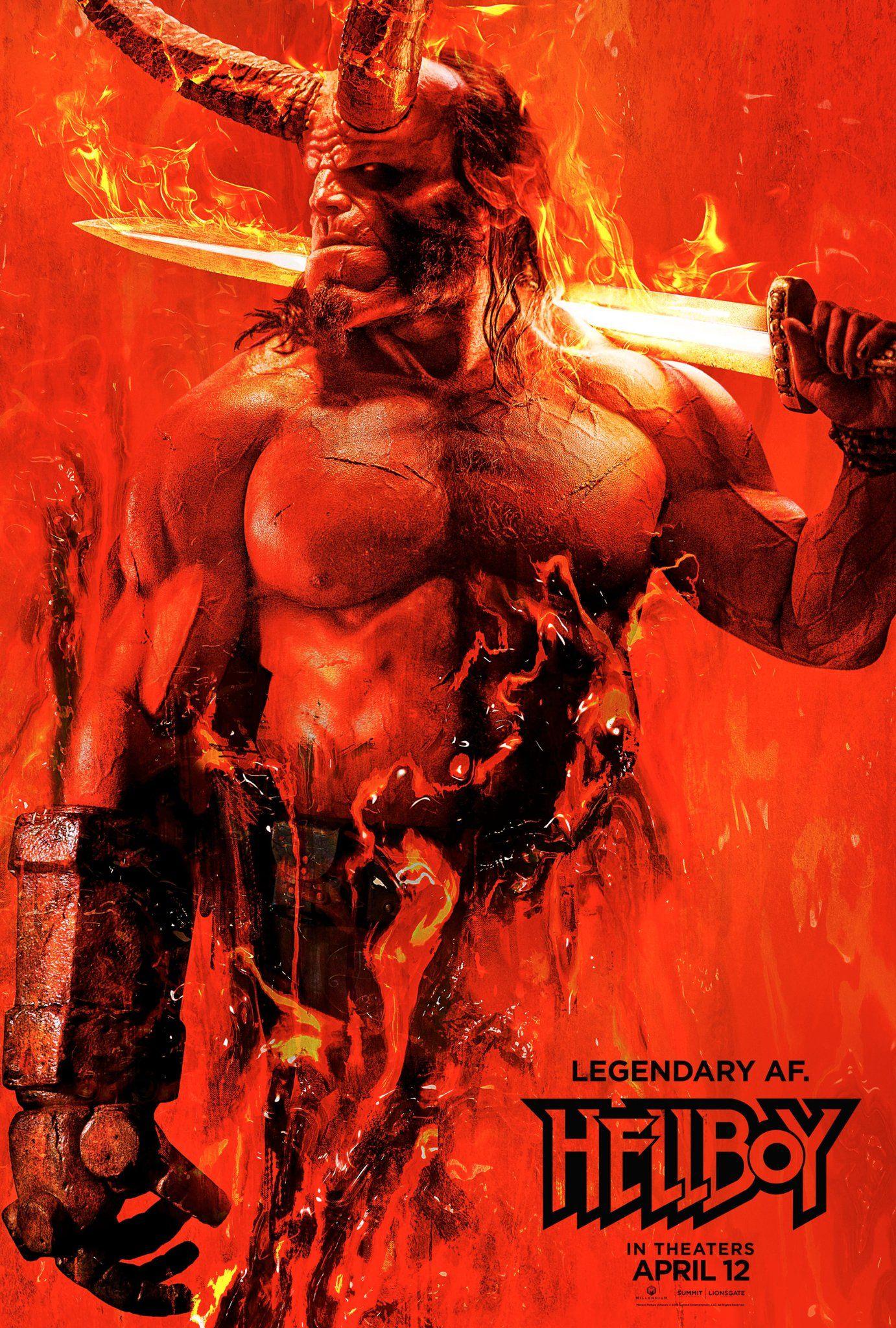 Hellboy: la locandina del film con David Harbour