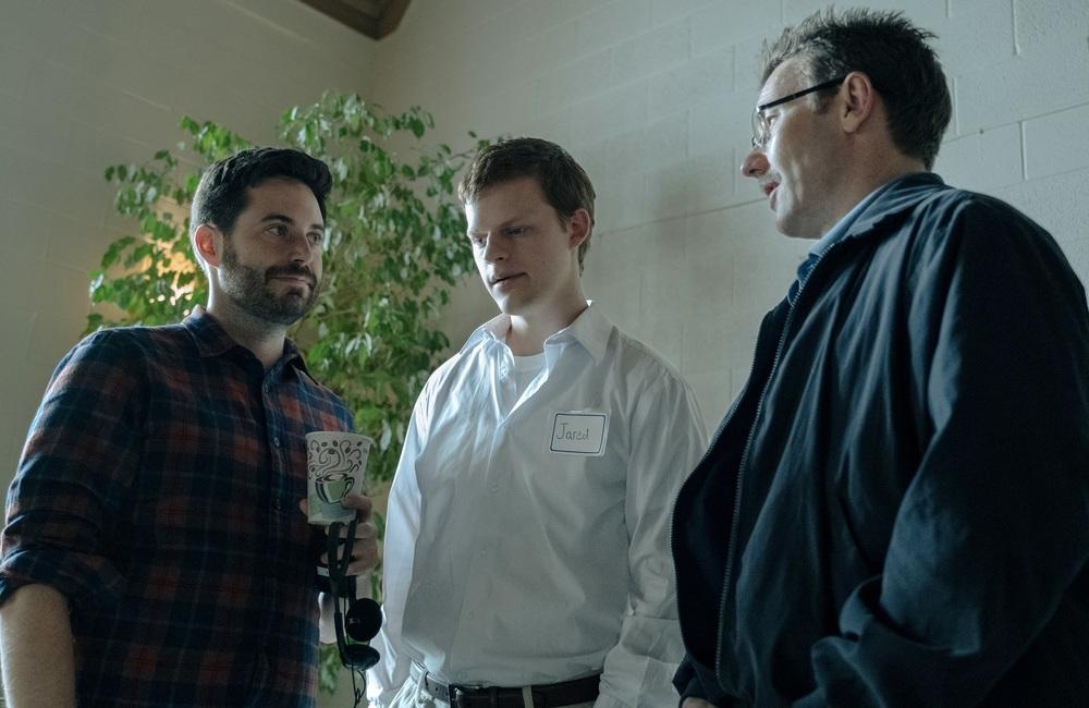 Boy Erased: Joel Edgerton e Lucas Hedges in una scena del film