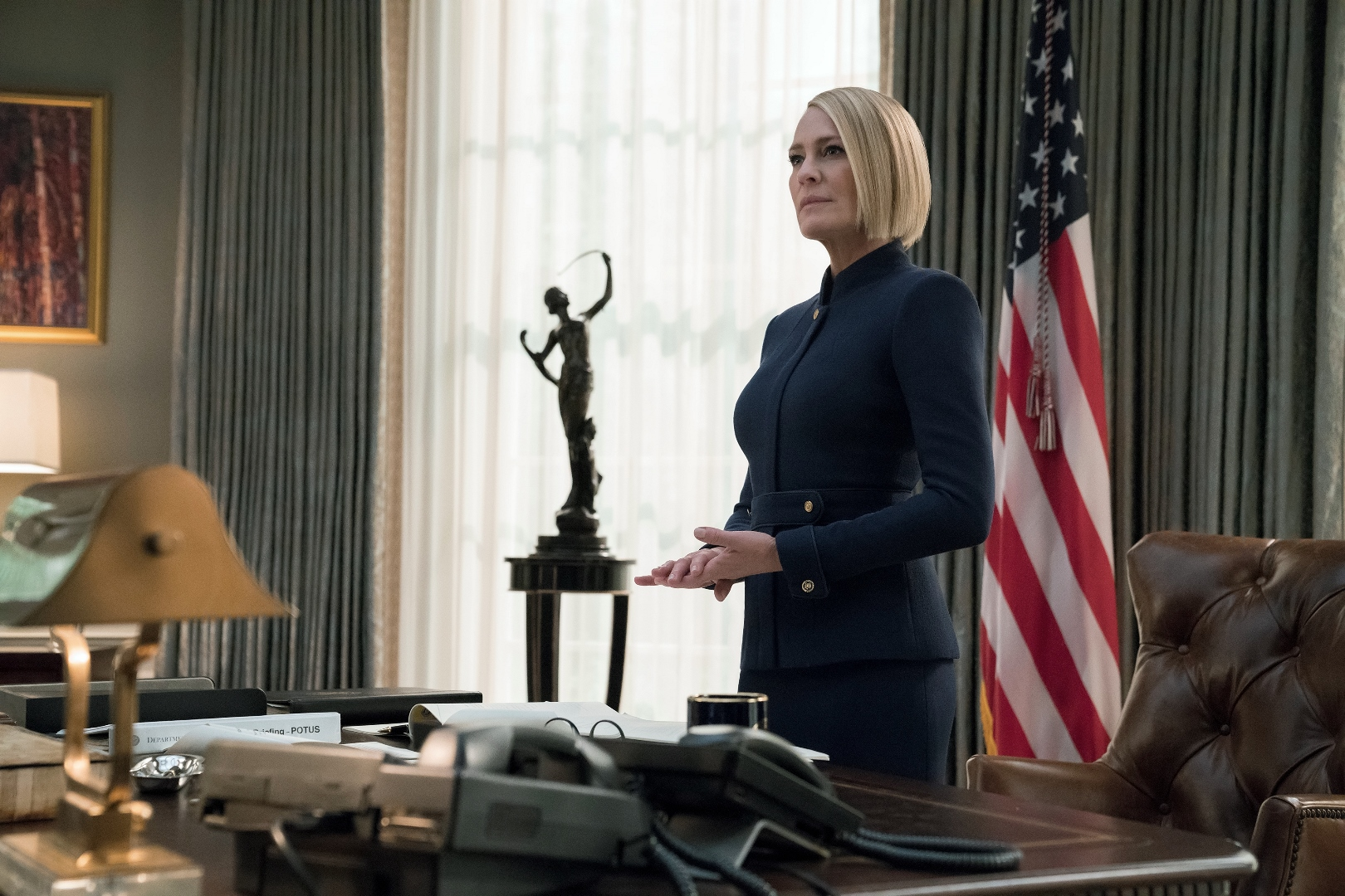 House of Cards: Robin Wright in una scena dell'episodio Chapter 66