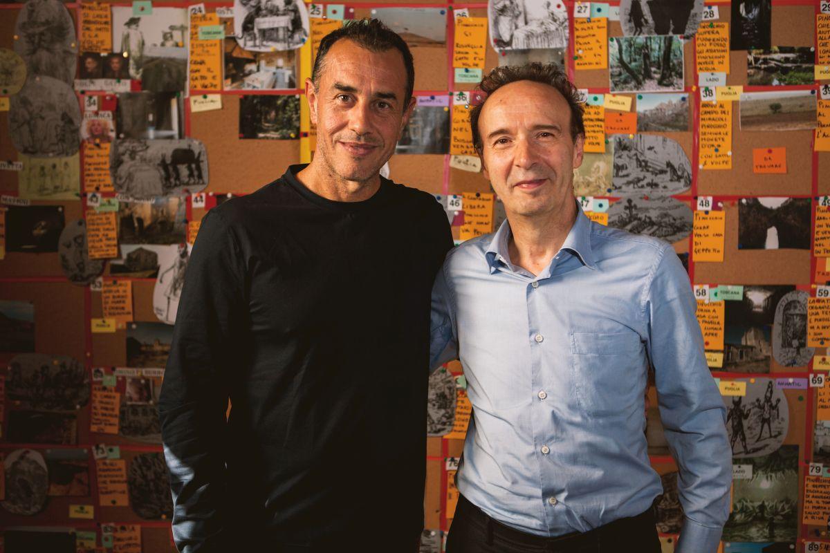 Matteo Garrone e Roberto Benigni, regista e interprete di Pinocchio