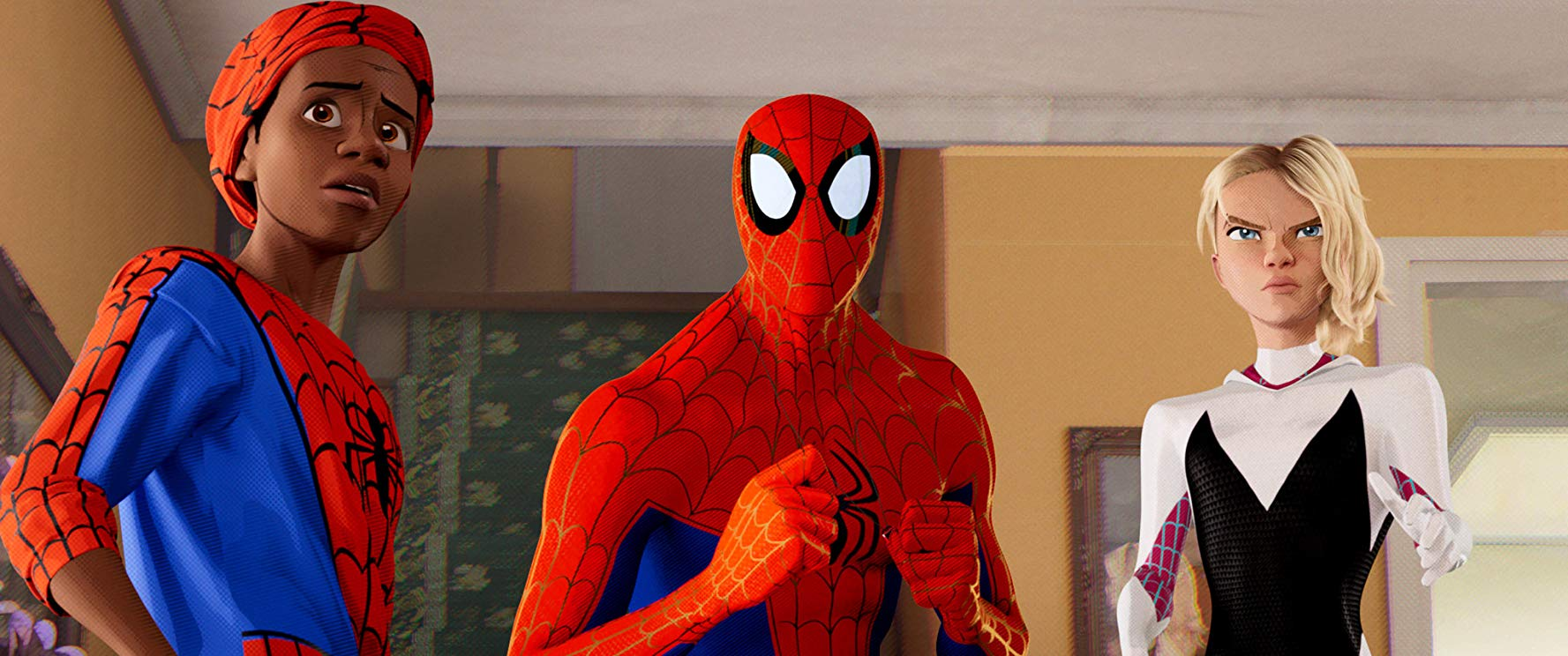 """Spider-Man: Un nuovo universo, una scena con i supereroi """"aracnidi"""""""