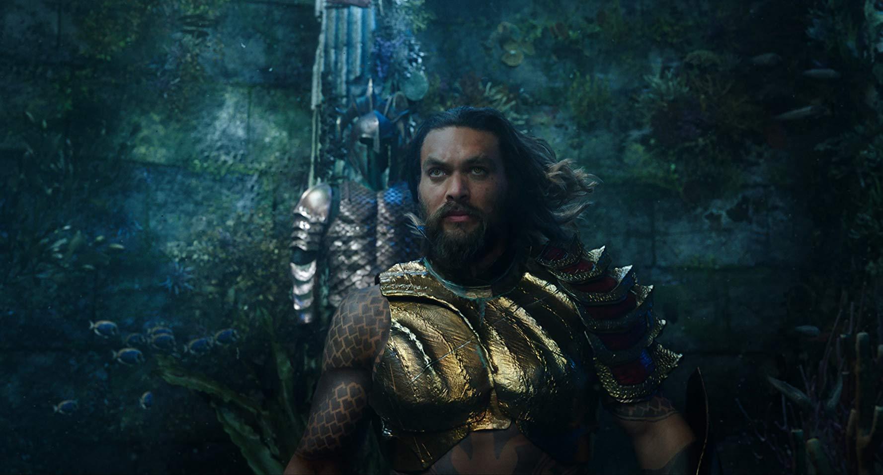 Aquaman: Jason Momoa durante una sequenza del film