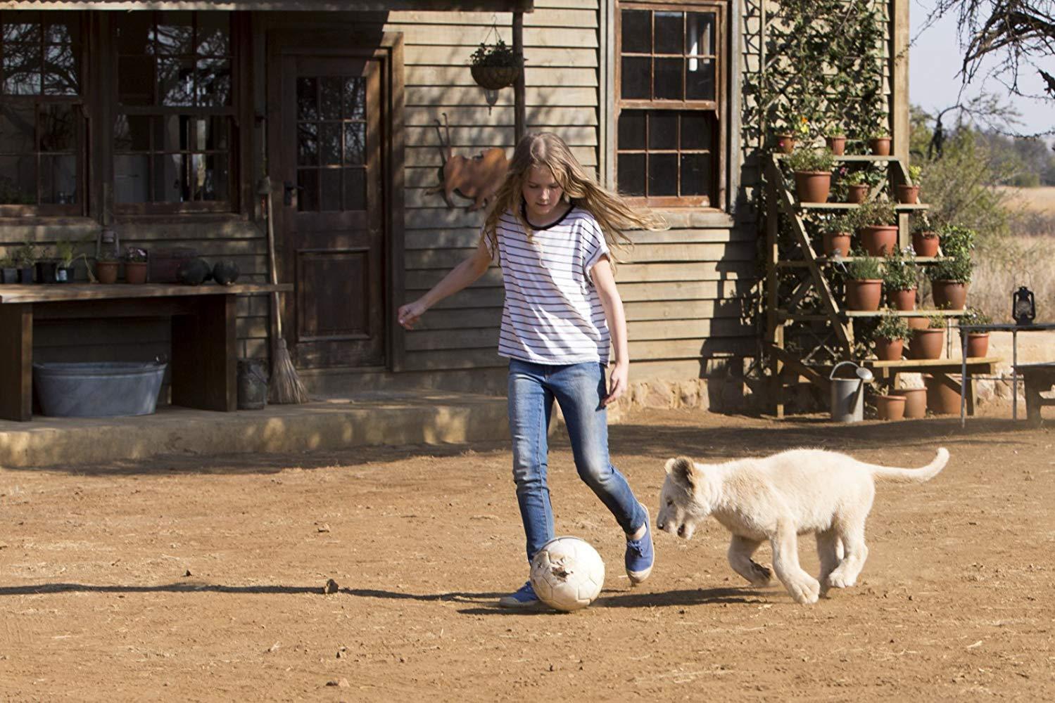 Mia e il leone bianco: Daniah De Villiers durante un momento di gioco con il suo leoncino