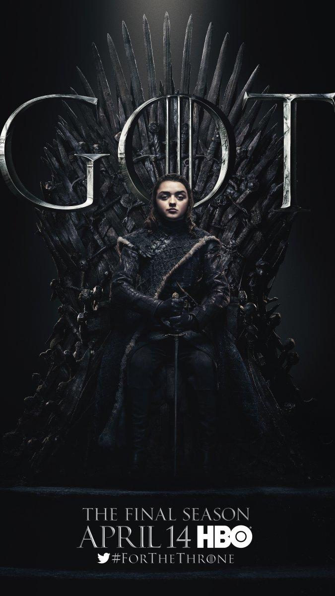 Il trono di spade: Misie Williams nel character poster per l'ottava e ultima stagione