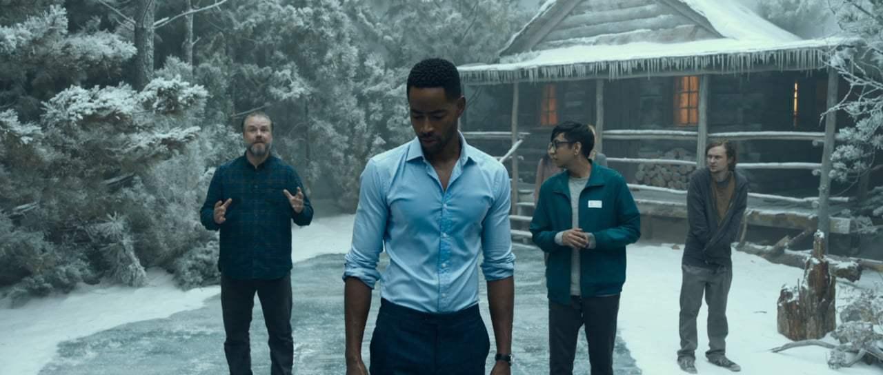 Escape Room: Tyler Labine, Jay Ellis, Logan Miller, and Nik Dodani in una scena del film