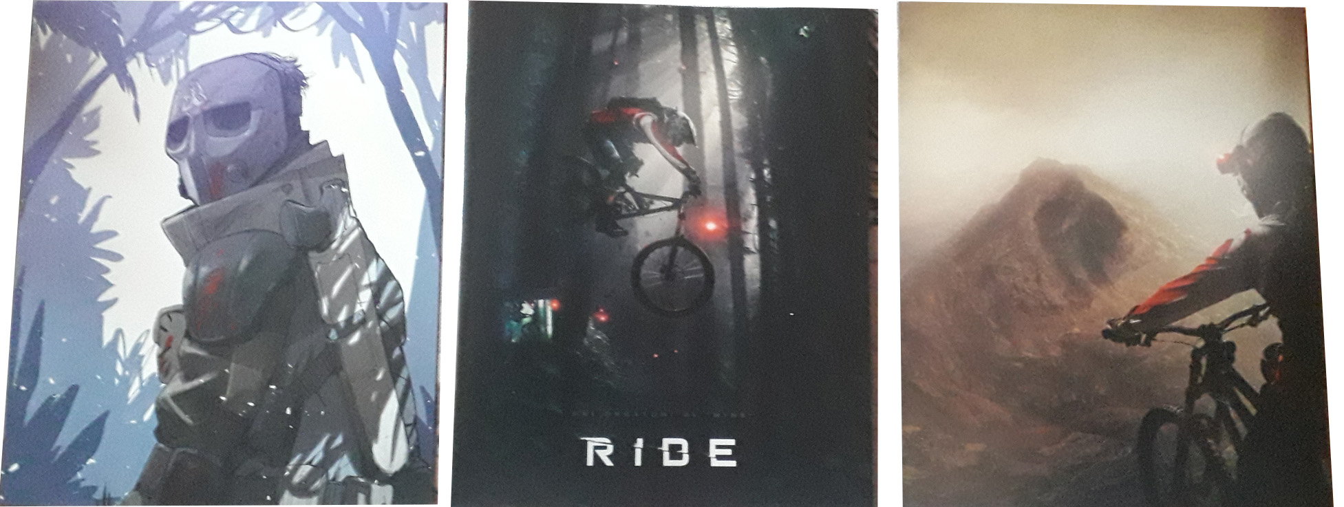 Le card e, al centro, la cover del booklet, del blu-ray di Ride
