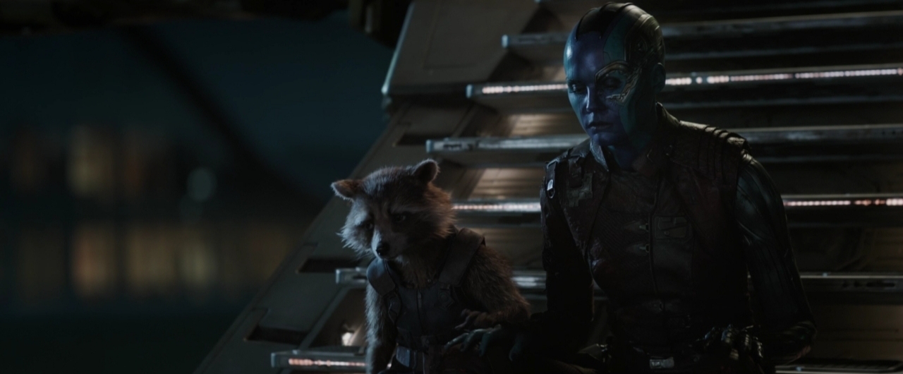 Avengers: Endgame, Karen Gillan e Rocket in una scena