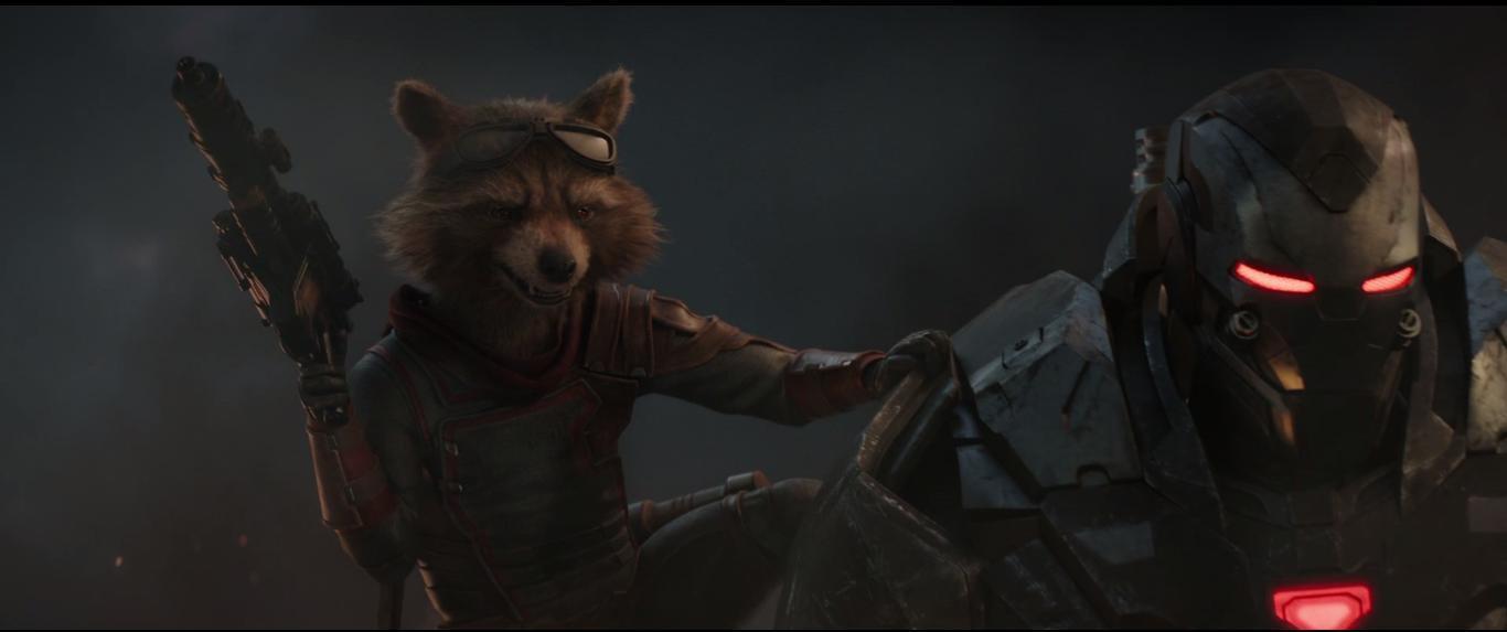 Avengers: Endgame, Rocket e War Machine in azione