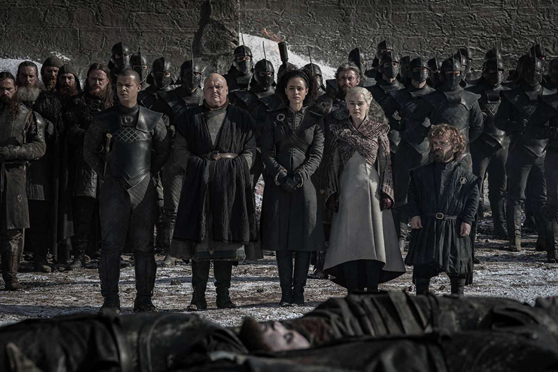 Il trono di spade: Emilia Clarke, Peter Dinklage, Jacob Anderson, Conleth Hill  nel quarto episodio, stagione 8