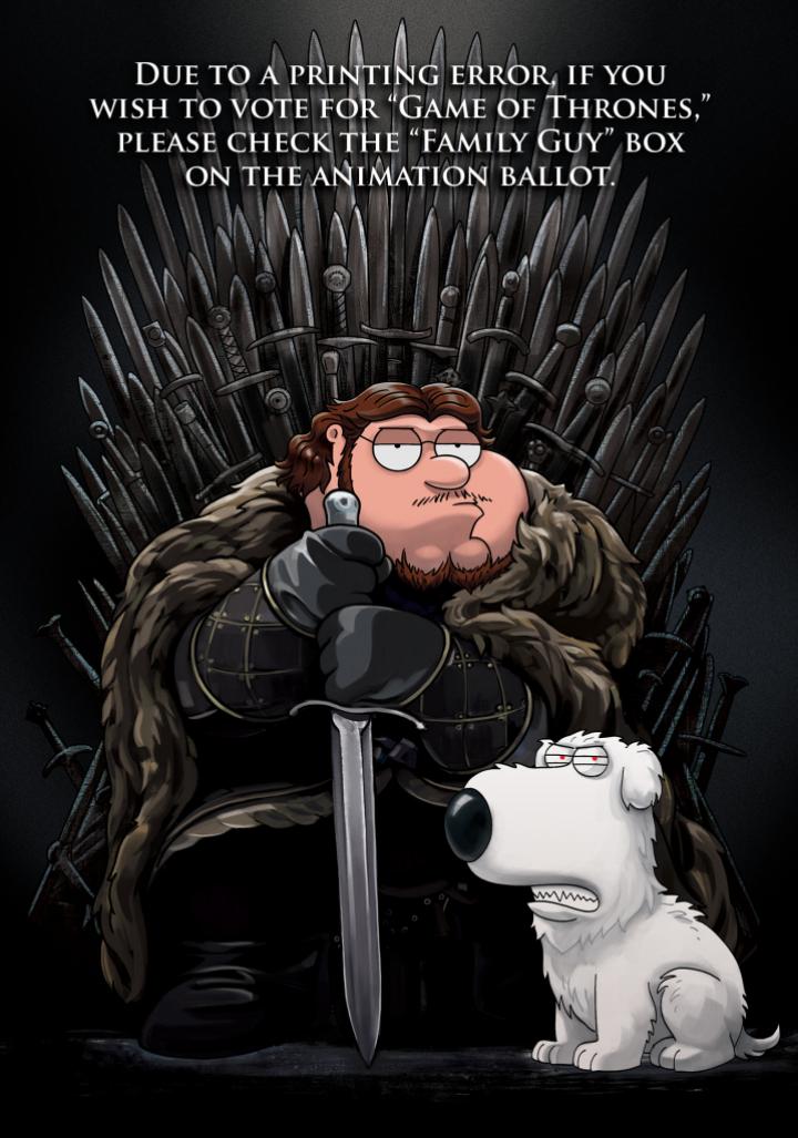 Peter Griffin come Jon Snow nell'immagine per la campagna degli Emmy