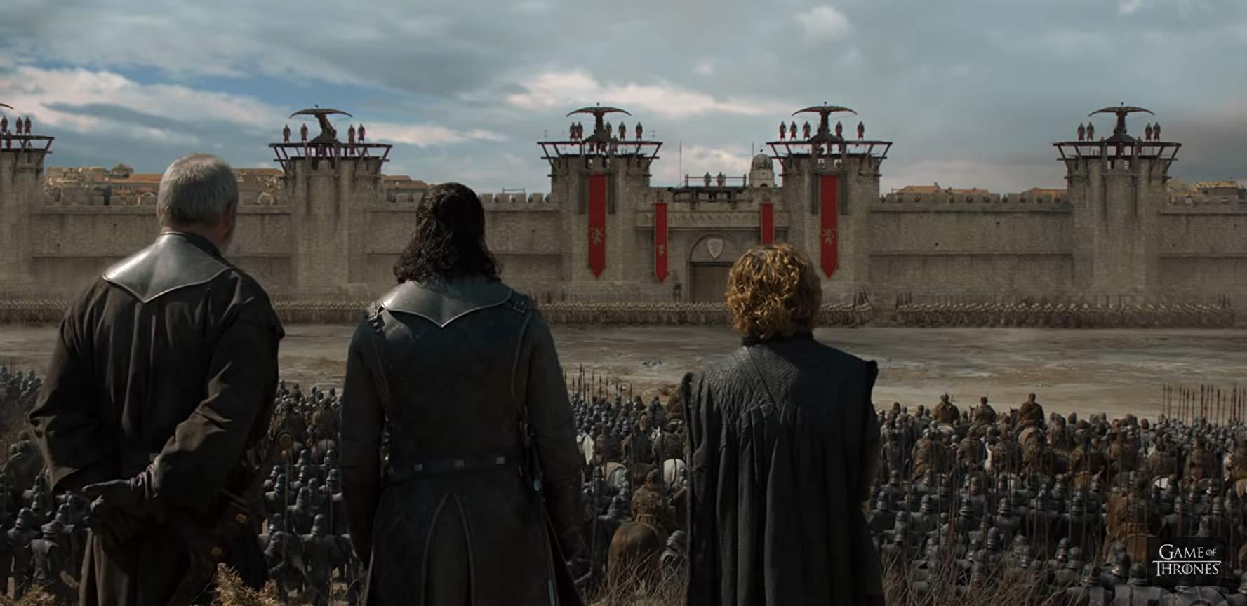 Il trono di spade: Liam Cunningham, Peter Dinklage, Kit Harington in una scena del penultimo episodio della serie
