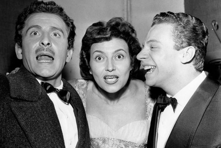 Domenico Modugno, Nilla Pizzi e Johnny Dorelli al Festival di Sanremo 1958