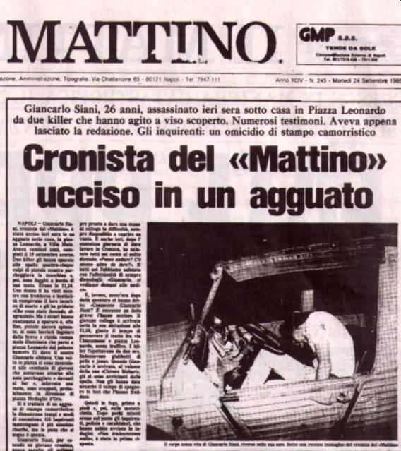 La prima pagina de Il Mattino sull'omicidio di Giancarlo Siani