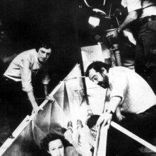Sul set di Demoni: Lamberto Bava, Dario Argento e sua figlia Fiore