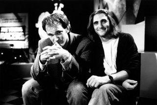 Il regista Quentin Tarantino e il produttore Lawrence Bender sul set di Pulp Fiction