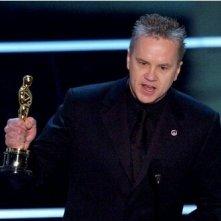 Tim Robbins con l'Oscar per il miglior attore non protagonista