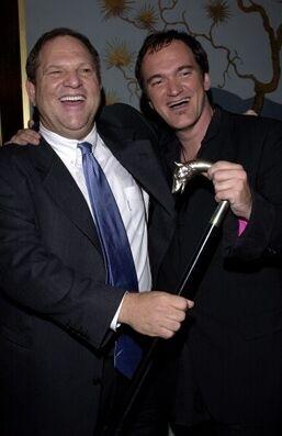 Il produttore Harvey Weinstein con Quentin Tarantino alla prima di Kill Bill Vol. 1 a Los Angeles