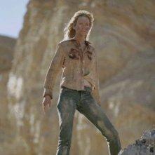 Uma Thurman in una sequenza drammatica del film Kill Bill: Volume 2