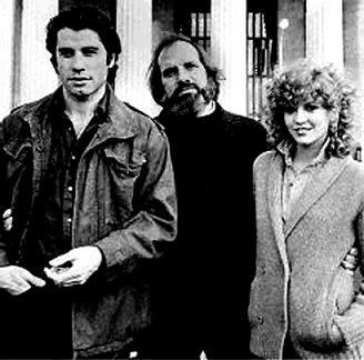 John Travolta, Nancy Allen e Brian De Palma sul set di Blow Out