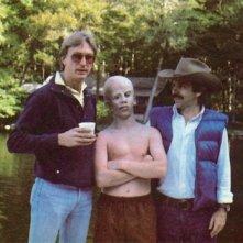 Foto di gruppo sul set di Venerdì 13: Steve Miner, Ari Lehman e Sean Cunningham