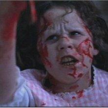 La diabolica Linda Blair in una scena de L'esorcista