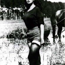 Silvana Mangano in una scena di Riso amaro