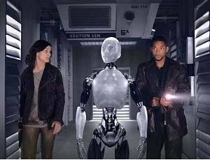 Bridget Moynahan con Will Smith in una scena di Io, Robot