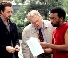 Edward Norton, Philip Seymour Hoffman e il regista Spike Lee sul set di La 25a ora